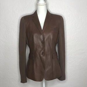 Akris Punto Mixed Media Lamb Nappa Leather Blazer